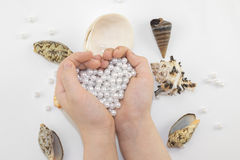 Mãos com grânulos e conchas do mar da pérola Foto de Stock