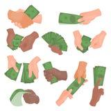 Mãos com ilustração do vetor do dinheiro Fotografia de Stock
