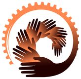 Mãos com imagem do vetor da cremalheira foto de stock