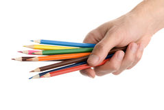 Mãos com lápis coloridos fotografia de stock