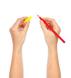 Mãos com lápis e eliminador fotografia de stock royalty free