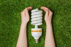 Mãos com a lâmpada de poupança de energia do eco sobre a grama Fotos de Stock
