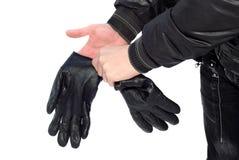 Mãos com luvas Fotos de Stock Royalty Free