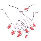 Mãos com nailpolish ilustração royalty free