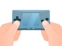 Mãos com o console portátil dos jogos ilustração do vetor