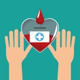 mãos com o sangue do coração saudável ilustração do vetor