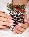 Mãos com os pregos manicured cor-de-rosa artificiais longos que guardam uma decoração do Natal do pinho imagem de stock