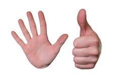 Mãos com parada e polegar do símbolo acima Imagem de Stock Royalty Free