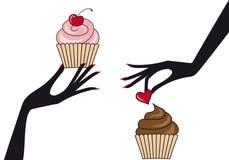 Mãos com queques,   ilustração do vetor