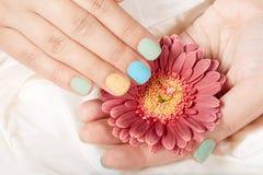 Mãos com resíduo metálico curto os pregos manicured Foto de Stock Royalty Free