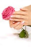 Mãos com uma rosa Fotografia de Stock Royalty Free
