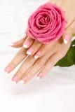 Mãos com uma rosa Fotografia de Stock