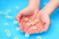 Mãos completamente da água Imagem de Stock
