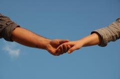 Mãos conectadas Fotografia de Stock