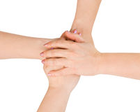 Mãos conectadas Fotos de Stock Royalty Free