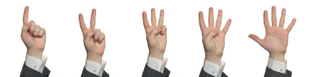 Mãos, contando 1 a 5 Imagens de Stock Royalty Free
