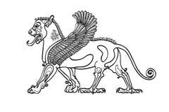 Mãos contornadas, desenhados à mão do Gryphon ilustração stock