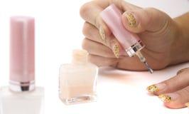 Mãos da beleza com tratamento de mãos fotografia de stock royalty free