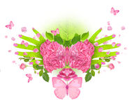 Mãos da borboleta de Rosa imagem de stock