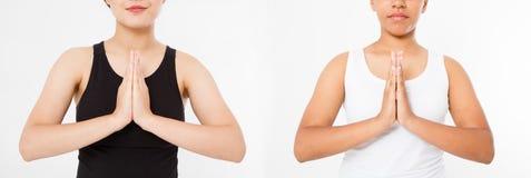 Mãos da colagem ou do close-up do grupo da mulher japonesa asiática preta na roupa branca e preta que medita dentro, foco nos bra fotos de stock royalty free