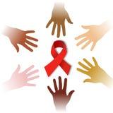 Mãos da diversidade em torno do símbolo do AIDS ilustração do vetor