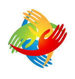 Mãos da equipe que vêm junto logotipo Fotos de Stock