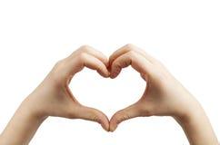 Mãos da forma do coração no branco Fotos de Stock