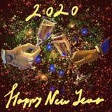 Mãos da ilustração da quadriculação de Digitas do homem e da mulher que guardam copos de vinho com campo com rotulação do ano nov ilustração royalty free