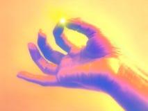 Mãos da meditação - conceito da iluminação Fotografia de Stock Royalty Free