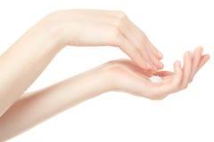 Mãos da mulher com creme Imagem de Stock