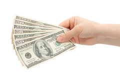 Mãos da mulher com dinheiro Imagens de Stock