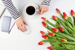 Mãos da mulher com o rato da xícara de café e do computador Telefone celular, caderno de papel e flores bonitas na tabela branca Imagens de Stock Royalty Free