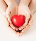 Mãos da mulher e do homem com coração Fotos de Stock