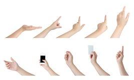 Mãos da mulher no fundo branco Fotos de Stock Royalty Free