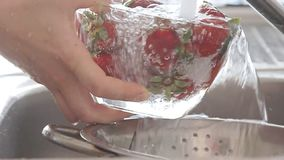 Mãos da mulher que lavam morangos sob o córrego da água filme