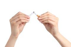 Mãos da mulher que quebram um cigarro Fotos de Stock
