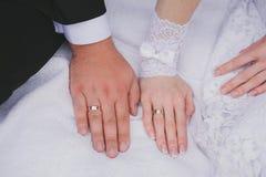 Mãos da noiva e de noivo com anéis de casamento Imagem de Stock Royalty Free