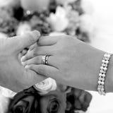 Mãos da noiva e do noivo imagens de stock