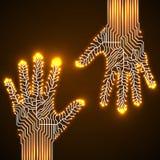 Mãos da placa de circuito Imagem de Stock Royalty Free