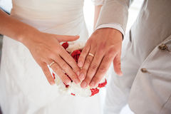 Mãos da terra arrendada dos pares do casamento Imagem de Stock Royalty Free