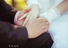 Mãos da terra arrendada dos pares do casamento Foto de Stock