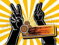 Mãos da vitória acima para o partido ilustração stock