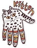 Mãos dadas forma gatinho ilustração stock