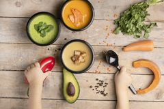 Mãos das crianças, dieta equilibrada para perder o peso, alimento cozinhado em umas lancheiras, lugar para o texto imagens de stock