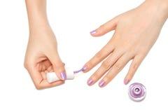Mãos das mulheres com manicure do prego Fotos de Stock