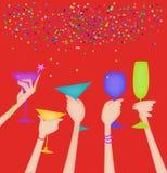 Mãos das mulheres que aumentam vidros em um brinde no vermelho ilustração royalty free