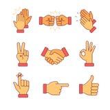 Mãos de aplauso e outros gestos Fotografia de Stock Royalty Free