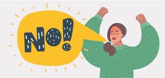 Mãos de aumentação da mulher irritada e gritar NÃO! ilustração royalty free
