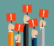 Mãos de Businessmens que guardam placas vermelhas do sinal Imagens de Stock Royalty Free