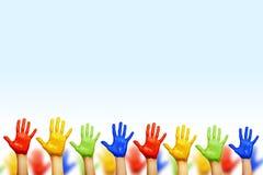 Mãos de cores diferentes fotografia de stock